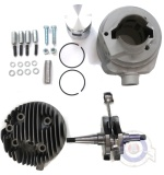 Vista frontal del kit equipo motor PINASCO 160cc Vespa en stock